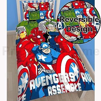 MARVEL AVENGERS ASSEMBLE SINGLE DUVET COVER BEDDING SET FOR BOYS
