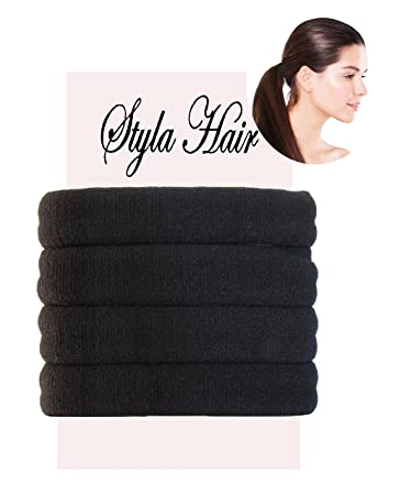Amazon.com   Styla Hair Ties for Thick Hair - Pack of 4 Black Large  Seamless Hair Elastics Scrunchies for Heavy 51d1e1c910a