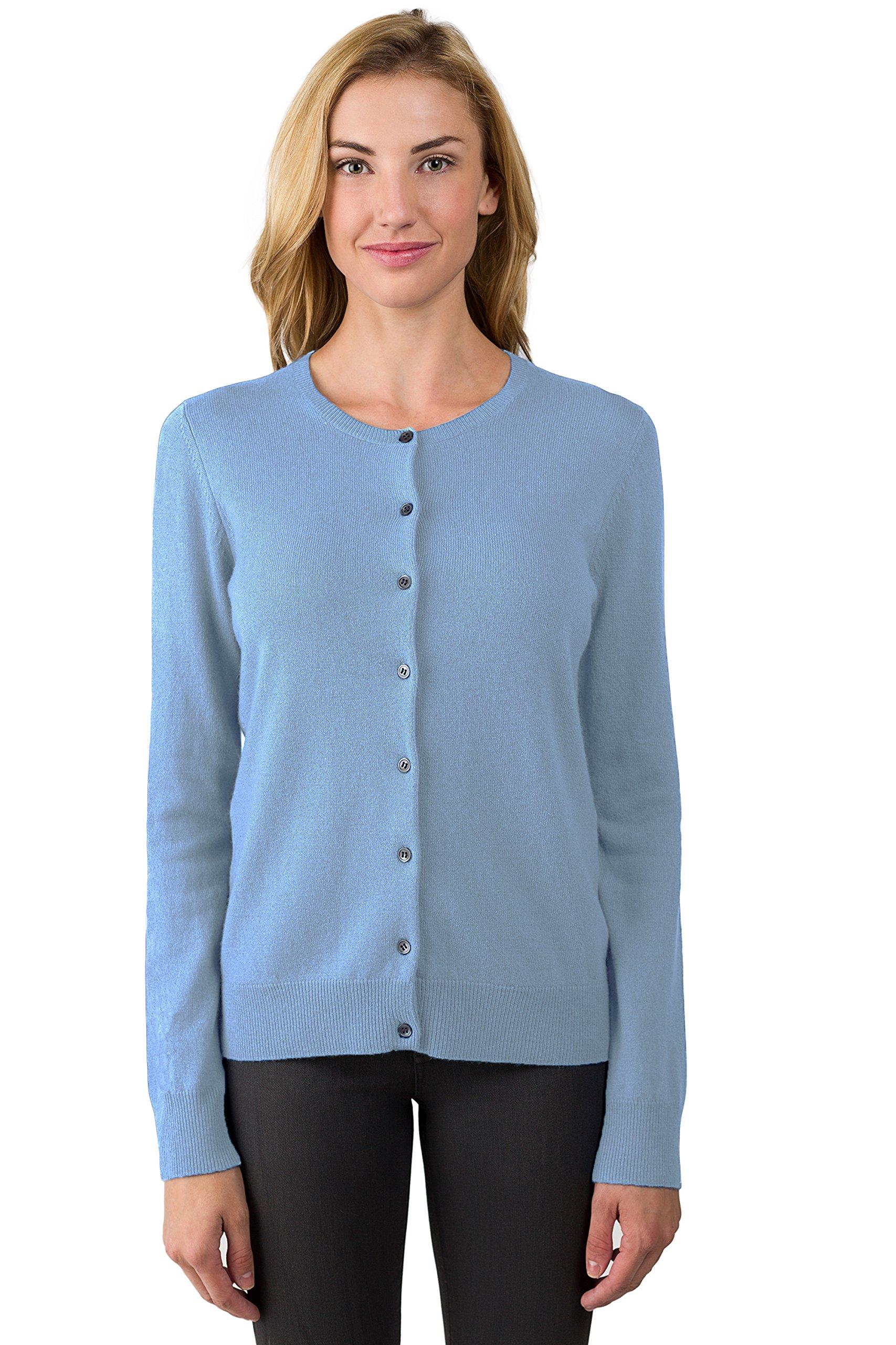 JENNIE LIU Women's 100% Cashmere Button Front Long Sleeve Crewneck Cardigan Sweater(L, CrystalBlue) by JENNIE LIU