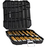 99 Pieces Titanium Twist Drill Bit Set, Anti-Walking 135° Tip High Speed Steel, Size from 1/16' up to 3/8', Ideal for…