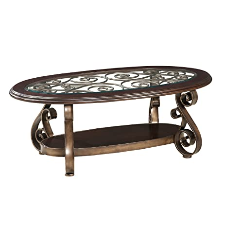 Mediterranean Style Bradley Coffee Table Made W/ Manufactured Wood, Glass,  And Metal In