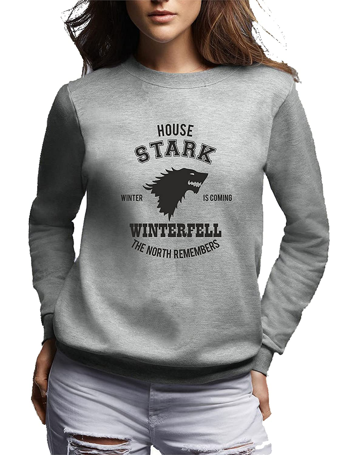 Bemode Felpa Donna Girocollo House Stark Winter IS Coming