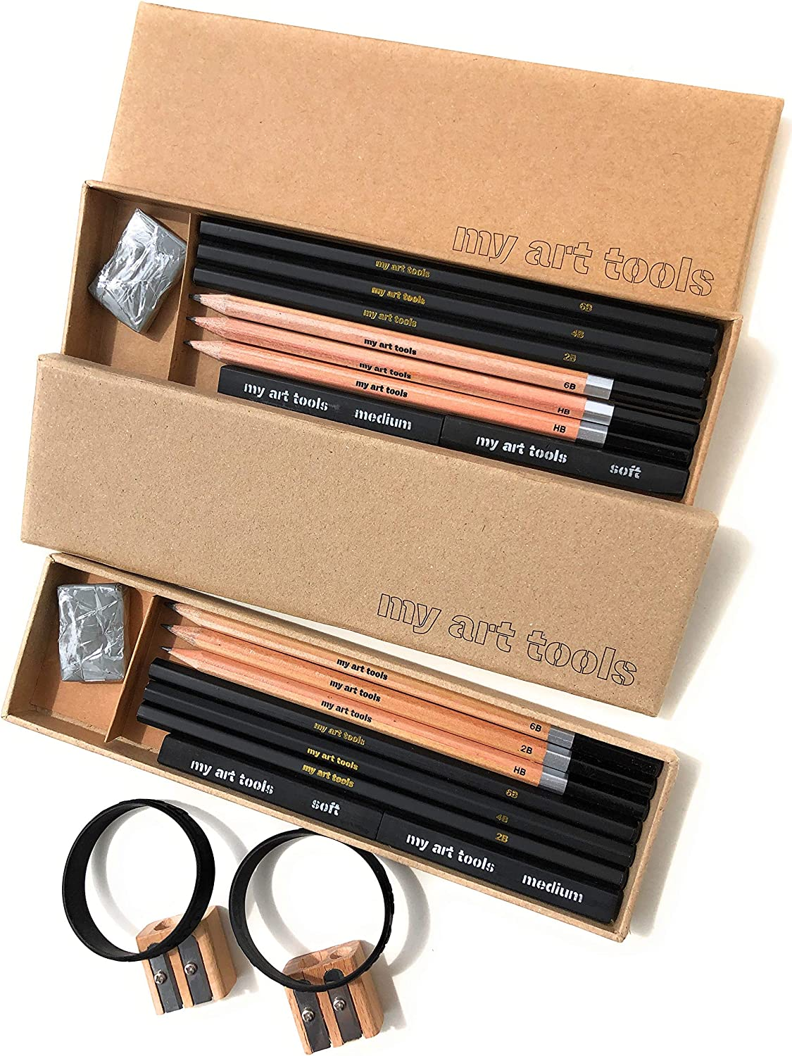 MY ART TOOLS Pencils Sets for drawing and sketching, 10 Pieces EACH kit-Perfect for any aspiring artist-Include Graphite and Charcoal pencils, Compressed Sticks and Sharpener, in 2 non plastic boxes : Office Products