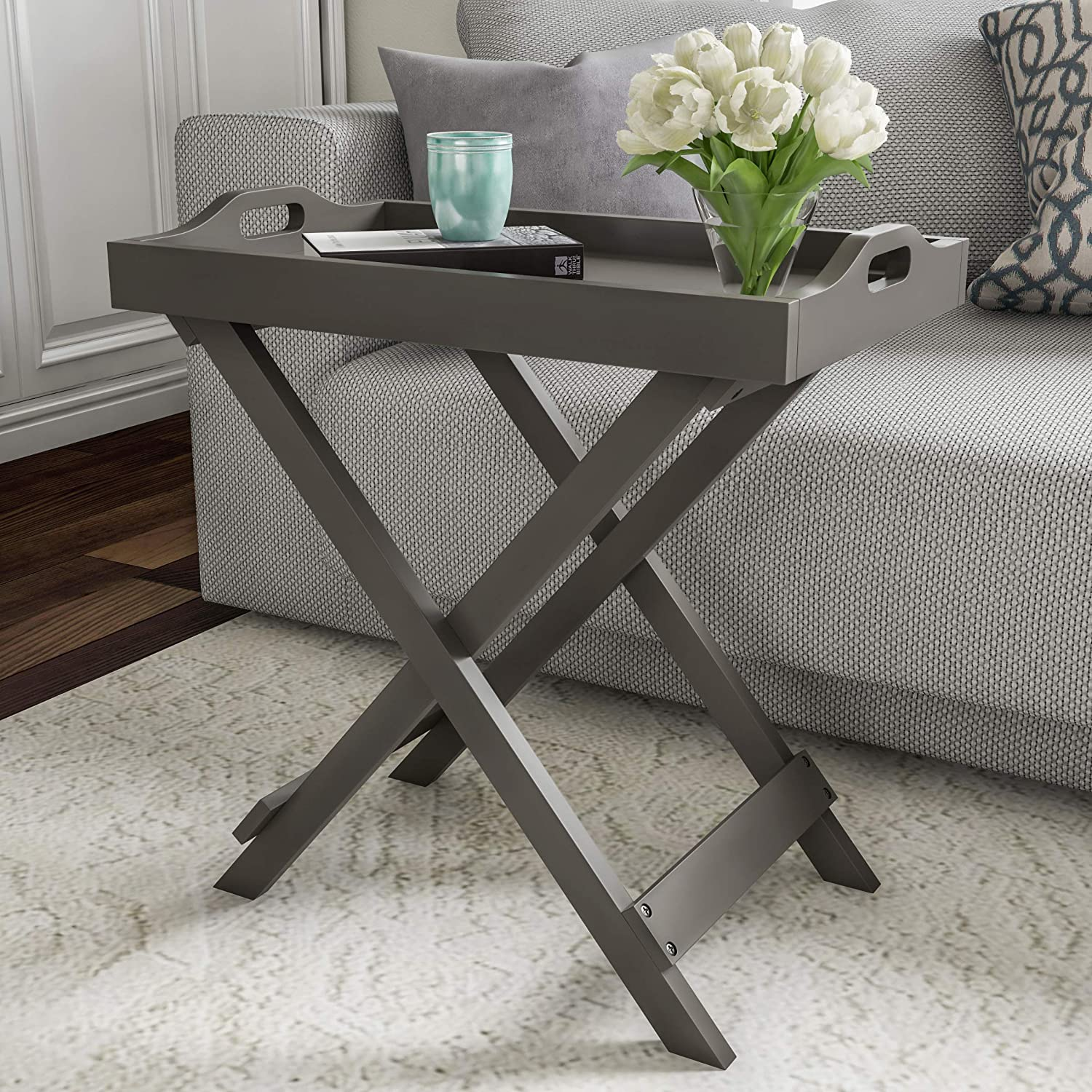 Lavish Home End Folding Modern Wooden Contemporary Side Table, Gray