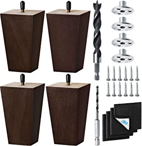 5 Inch - Furniture Legs, 4-Pack – Rubber Wood Legs for Couch, Sofa & Chair – Hardware, Drill Bits & M8 Screws Included – Mid Century Wooden Furniture Legs Replacements by Tarox