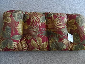 Plantation Patterns Outdoor Loveseat Cushion   Red And Tropical Leaves
