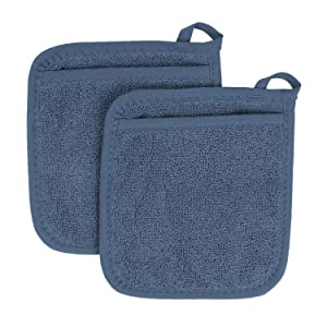 Ritz Royale Collection 100% Cotton Terry Cloth Pocket Mitt Set, Dual-Function Hot Pad/Pot Holder, 2-Piece, Federal Blue