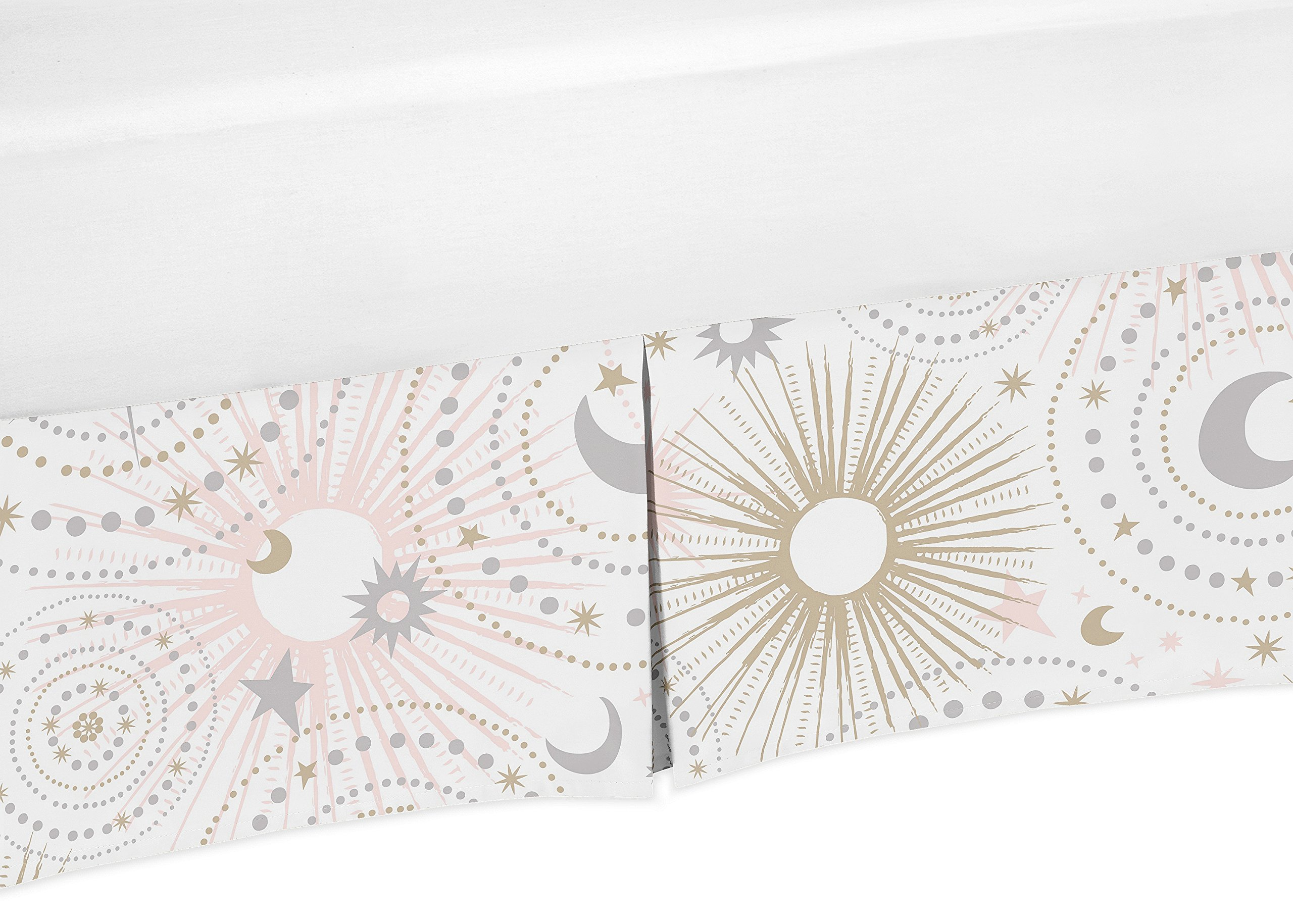 Sweet Jojo Designs Blush Pink, Gold, Grey and White Star and Moon Baby Girl Pleated Crib Bed Skirt Dust Ruffle for Celestial Collection by Sweet Jojo Designs