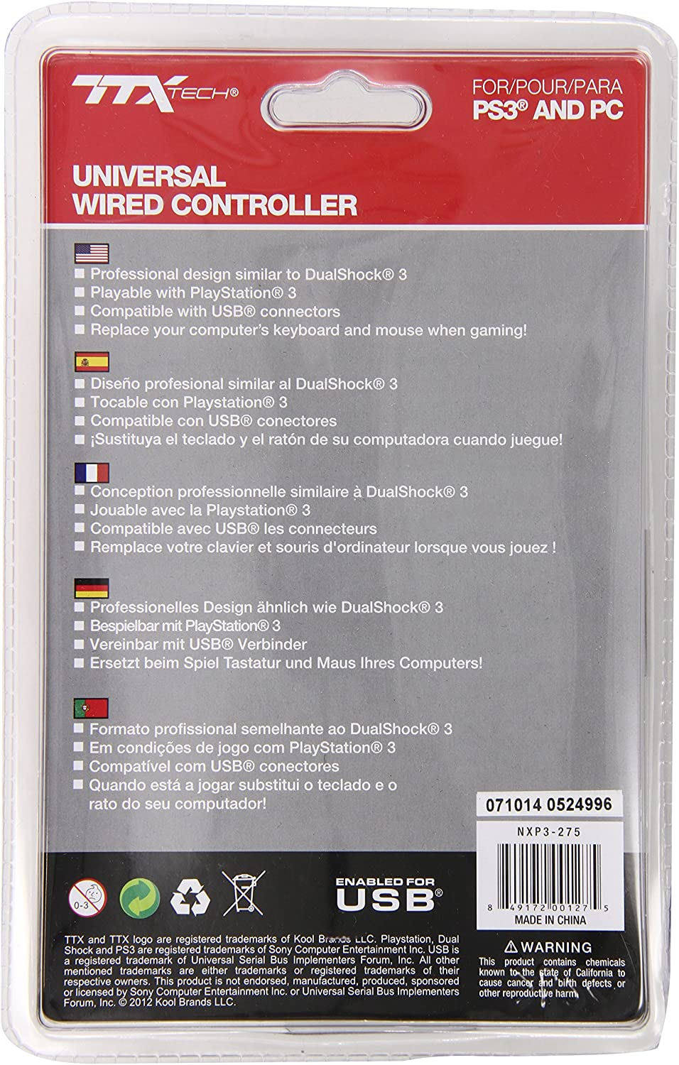 Amazon.com: TTX Tech Wired USB Controller Compatible with PC, Blue - PlayStation 3: Video Games