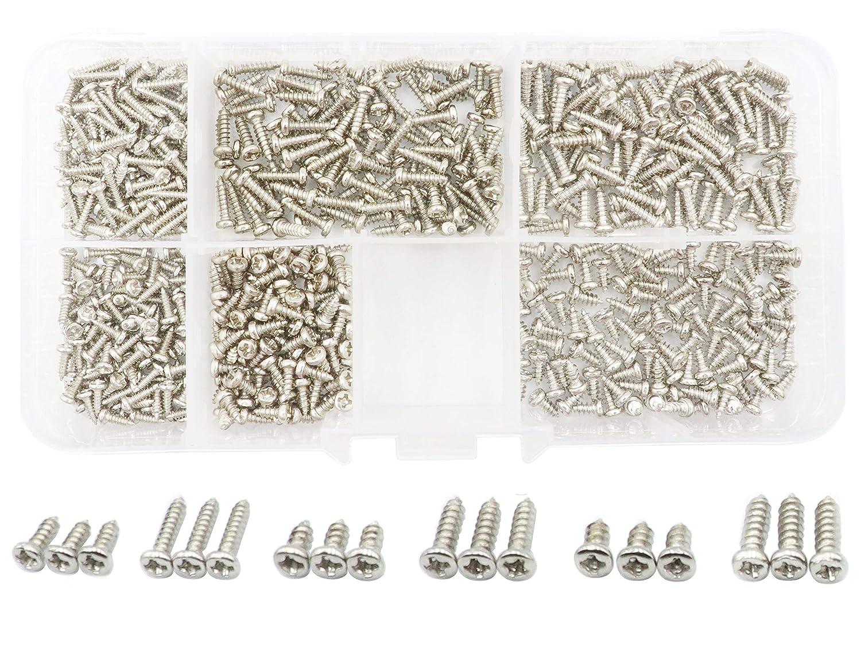 LBY 600pcs M1.7 M2 M2.3 Philips Pan Head Self-Tapping Sheetmetal Screw Assortment Kit 6 Sizes Combination Carbon Steel