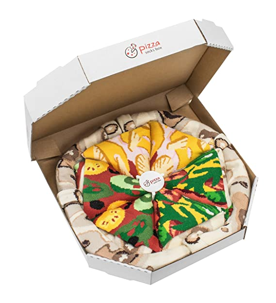 Pizza Socks Box - Pizza MIX Italiana Hawaiana Vegetariana - 4 pares de CALCETINES Divertidos de
