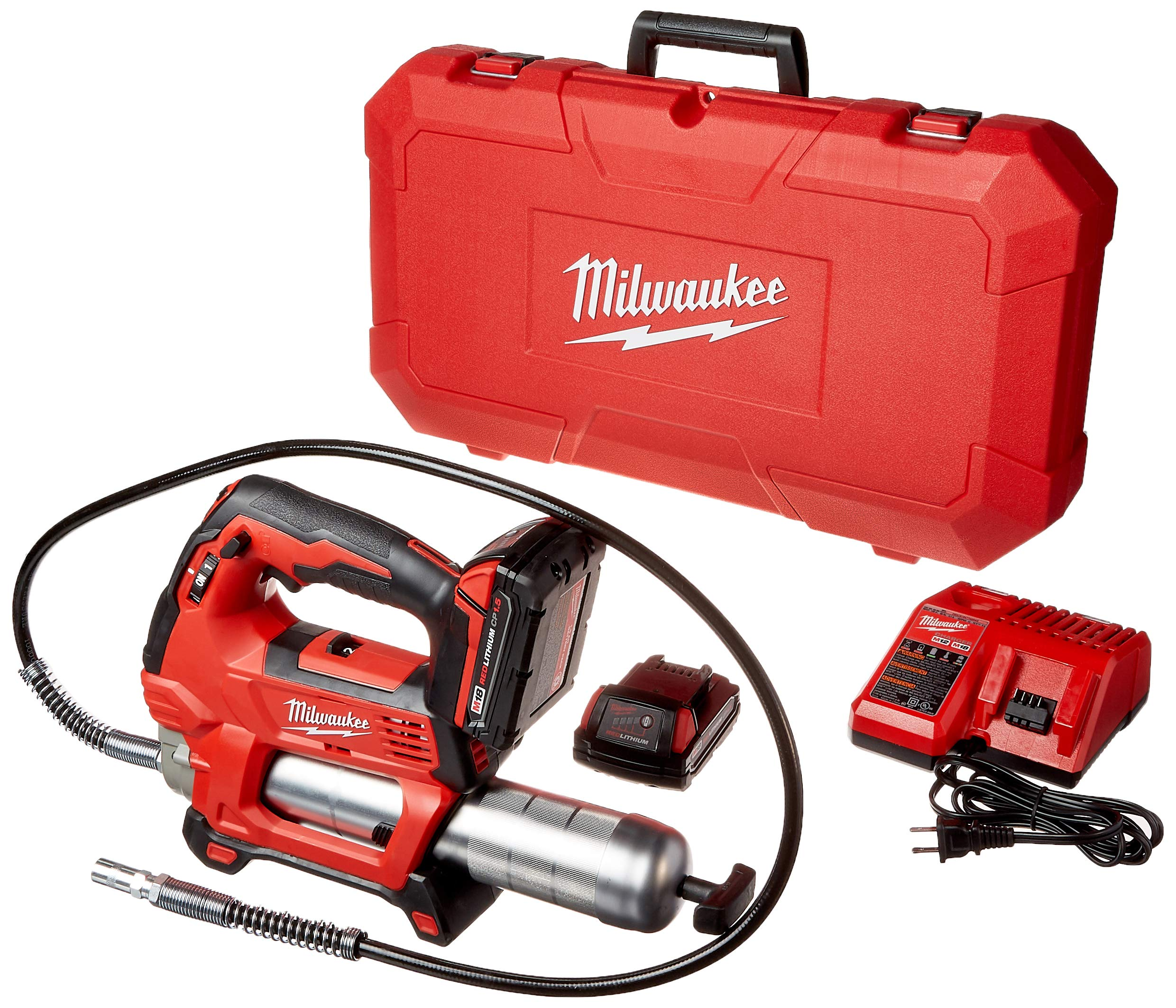 Milwaukee 2646-22CT M18 18-Volt Lithium-Ion Cordless 2-Speed Grease Gun 2-Battery Kit by Milwaukee
