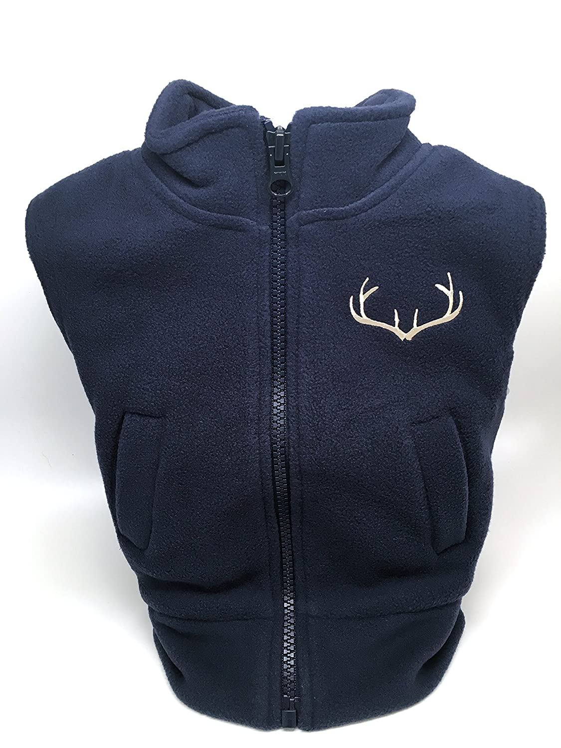 Navy Polar Fleece Zippered Vest Infant//Toddler with Embroidered Antlers