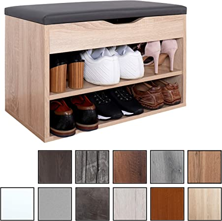 En bois Ottoman Chaussures Étagère de Rangement Banc rembourré siège gris Cabinet Armoire socle