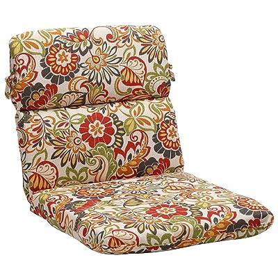 "Pillow Perfect Outdoor/Indoor Zoe Citrus Round Corner Chair Cushion, 40.5"" x 21"", Green: Home & Kitchen"