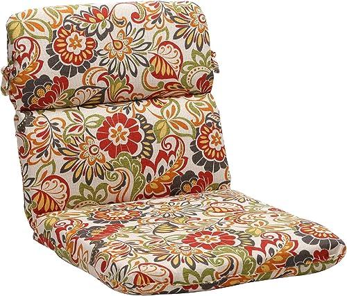 Pillow Perfect Outdoor Indoor Zoe Citrus Round Corner Chair Cushion, 40.5 x 21 , Green
