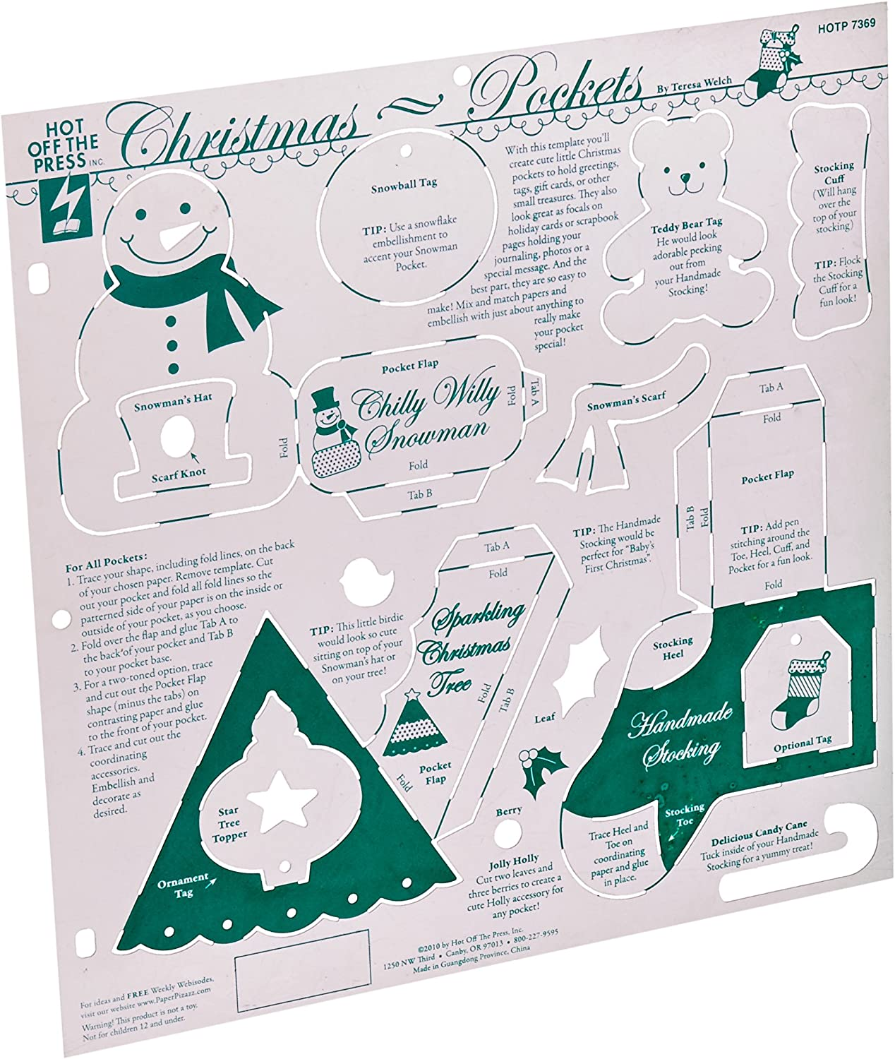 Hot Off The Press Template 12x12 Christmas Pockets