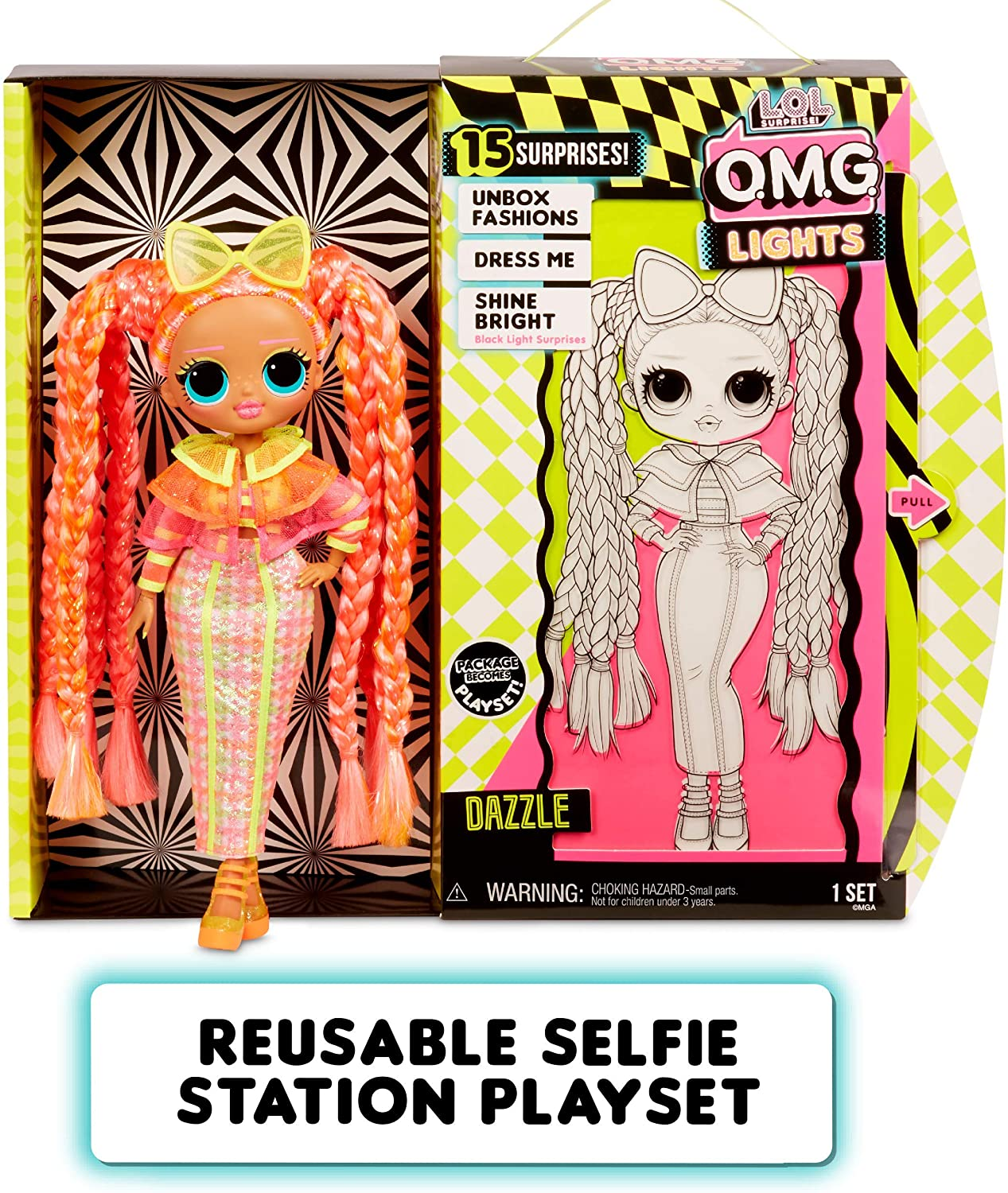 O.M.G MGA Entertainment LOL Surprise Lights Dazzle Fashion Doll with 15 Surprises