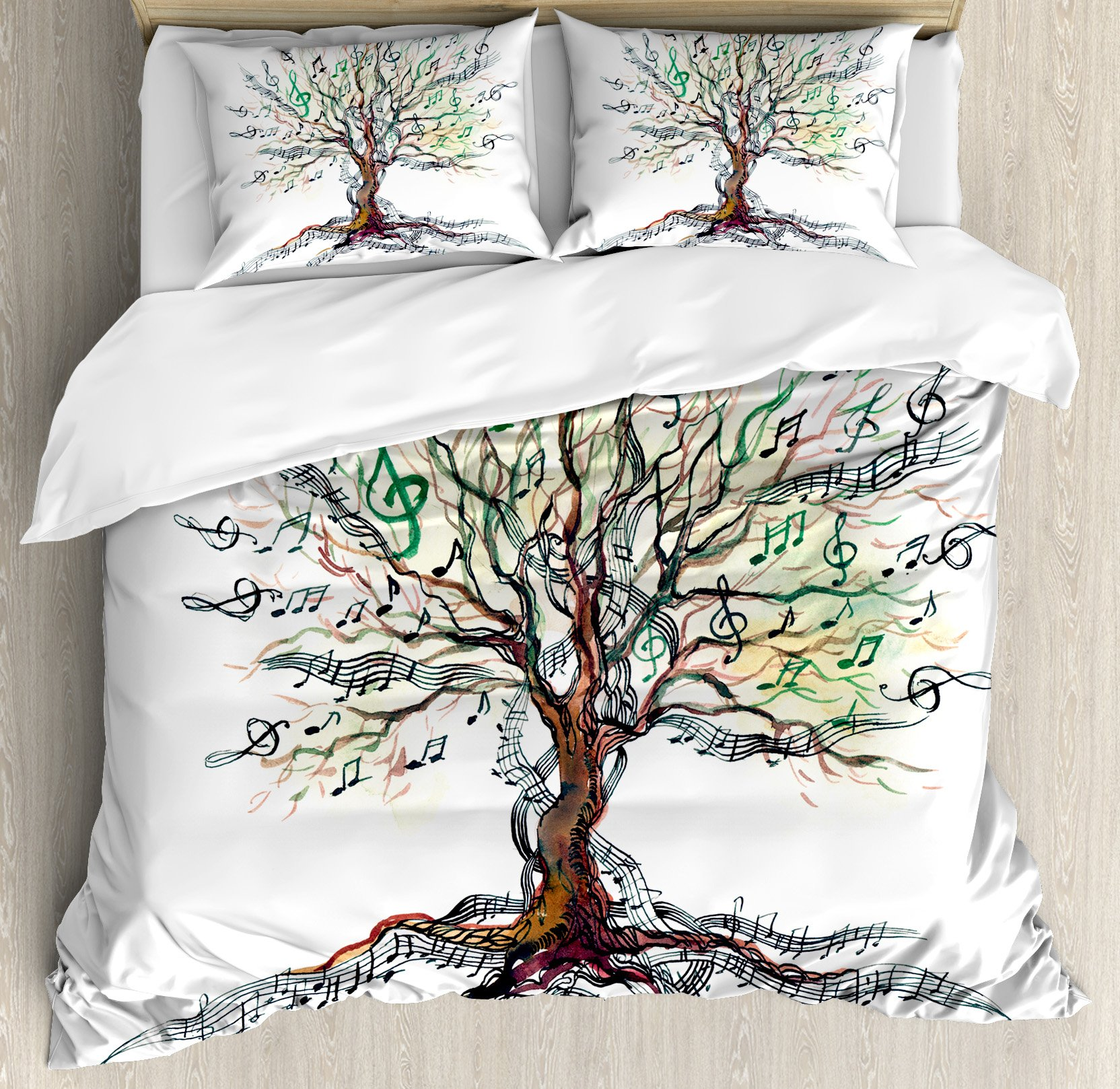 Music Decor Duvet Cover Set Queen Size by Ambesonne, Musical Tree Autumn Clef Trunk Swirl Nature Illustration Leaves Creative Design, Decorative 3 Piece Bedding Set with 2 Pillow Shams