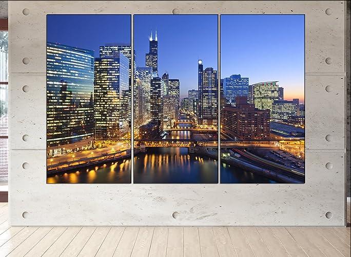 d4caf010d88 Amazon.com  Chicago skyline canvas Chicago wall art Chicago print ...