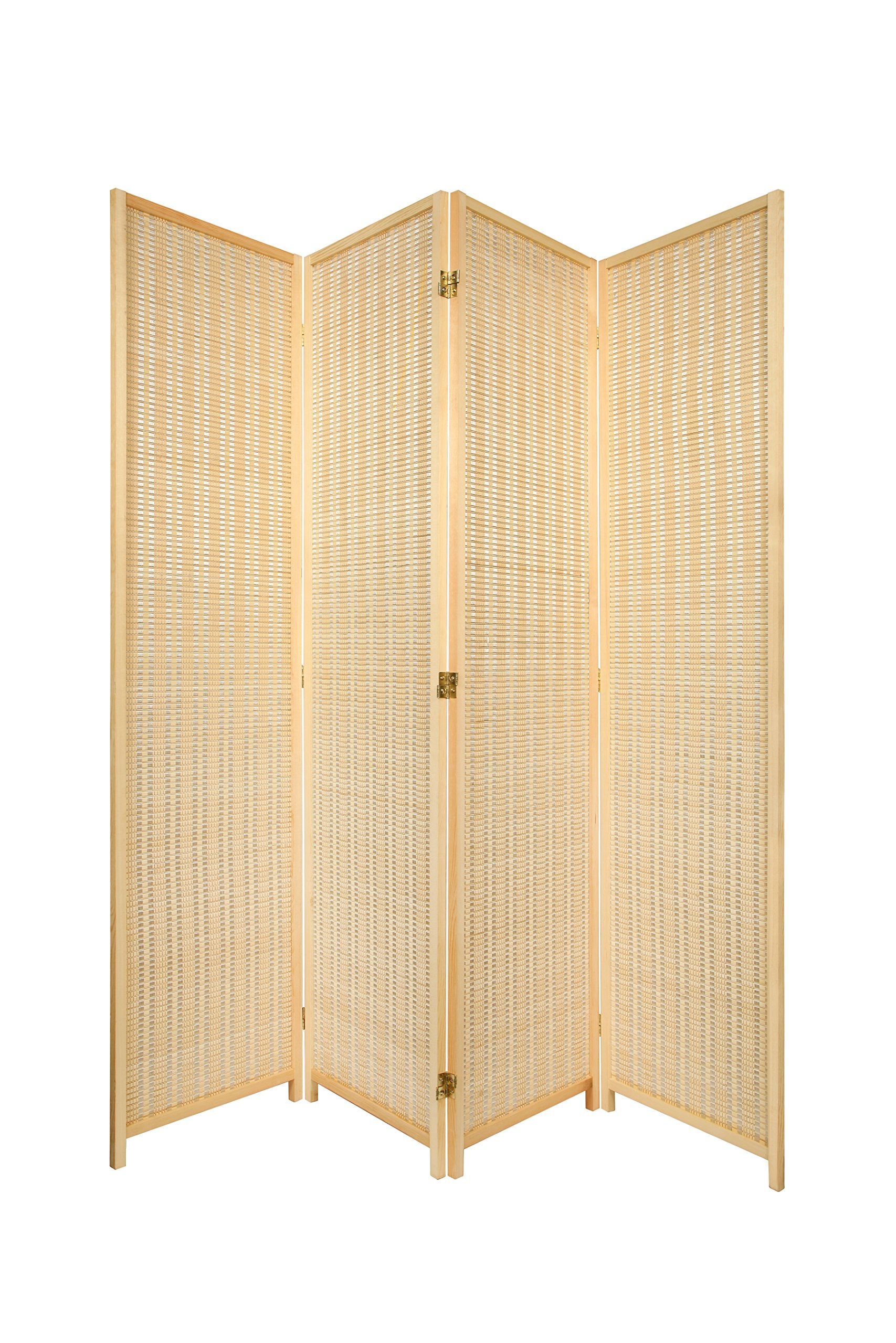 4 Panel Natural Color Wood and Bamboo Weave Room Divider Folding Screen 2-Way Double hinged, by Legacy Decor