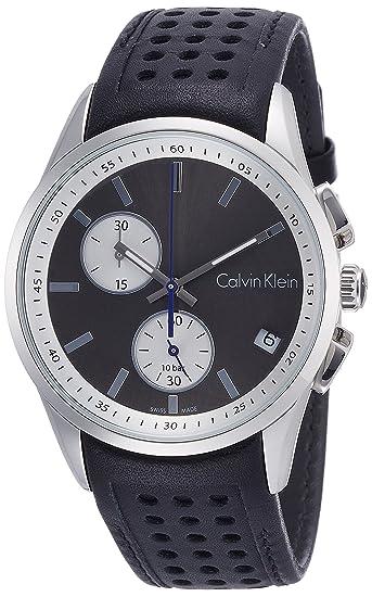 Calvin Klein Reloj Cronógrafo para Hombre de Cuarzo con Correa en Cuero K5A371C3: Amazon.es: Relojes