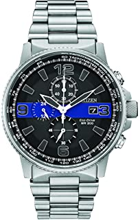 Citizen Mens Thin Blue Line Watch Chronograph 200M WR Eco Drive CA0291-59E