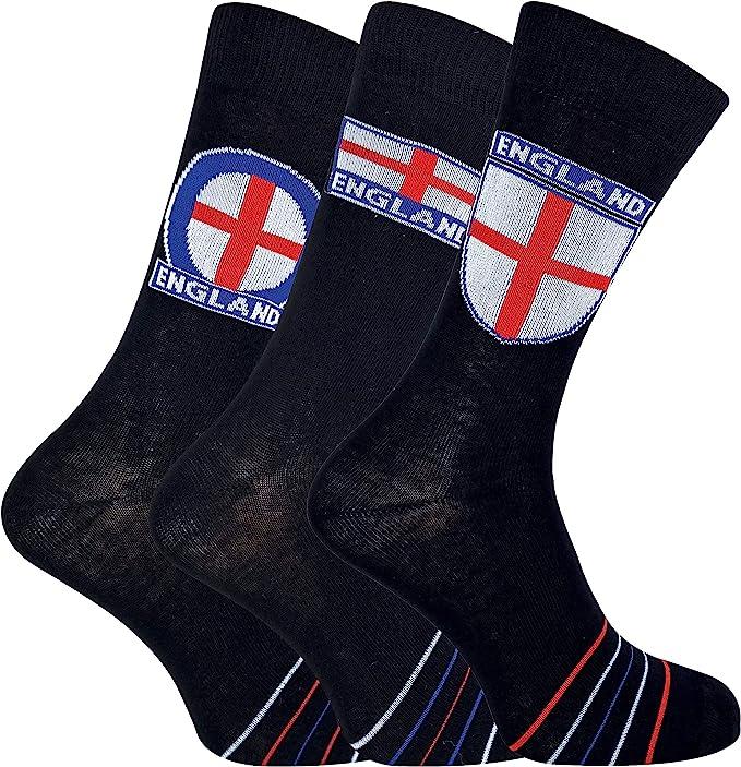 Sock Shop 3 Pares Hombre Algodon Negros Calcetines con Inglaterra Bandera (39/45, England 623): Amazon.es: Ropa y accesorios
