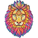 Unidragon Wooden Jigsaw Puzzles - Unique Shape Jigsaw Pieces Best Gift for Adults and Kids Mysterious Lion 9.7 x 12.5…