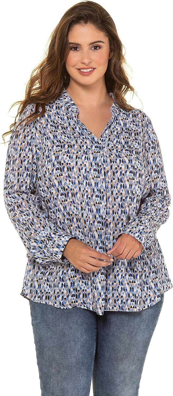 Ulla Popken Womens Plus Size Crane Print Blouse 720699