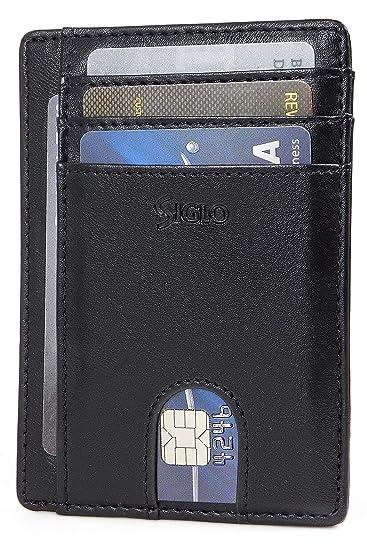 973980fba SIGLO® Tarjetero para Hombre Minimalista con Bloqueo RFID — Cartera Delgada  de Piel para Caballero