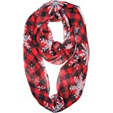 VIVIAN & VINCENT Soft Lightweight Christmas Holiday Sheer Infinity Scarf for Women Girls