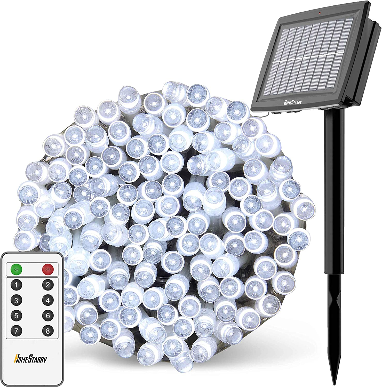 Solar String Lights Outdoor, Christmas Lights, 80Ft 200 LEDs with Remote 8 Lighting Modes Fairy Lights Waterproof Transparent Flexible Cord Perfect for Christmas Party Decor Garden Yard Lawn White