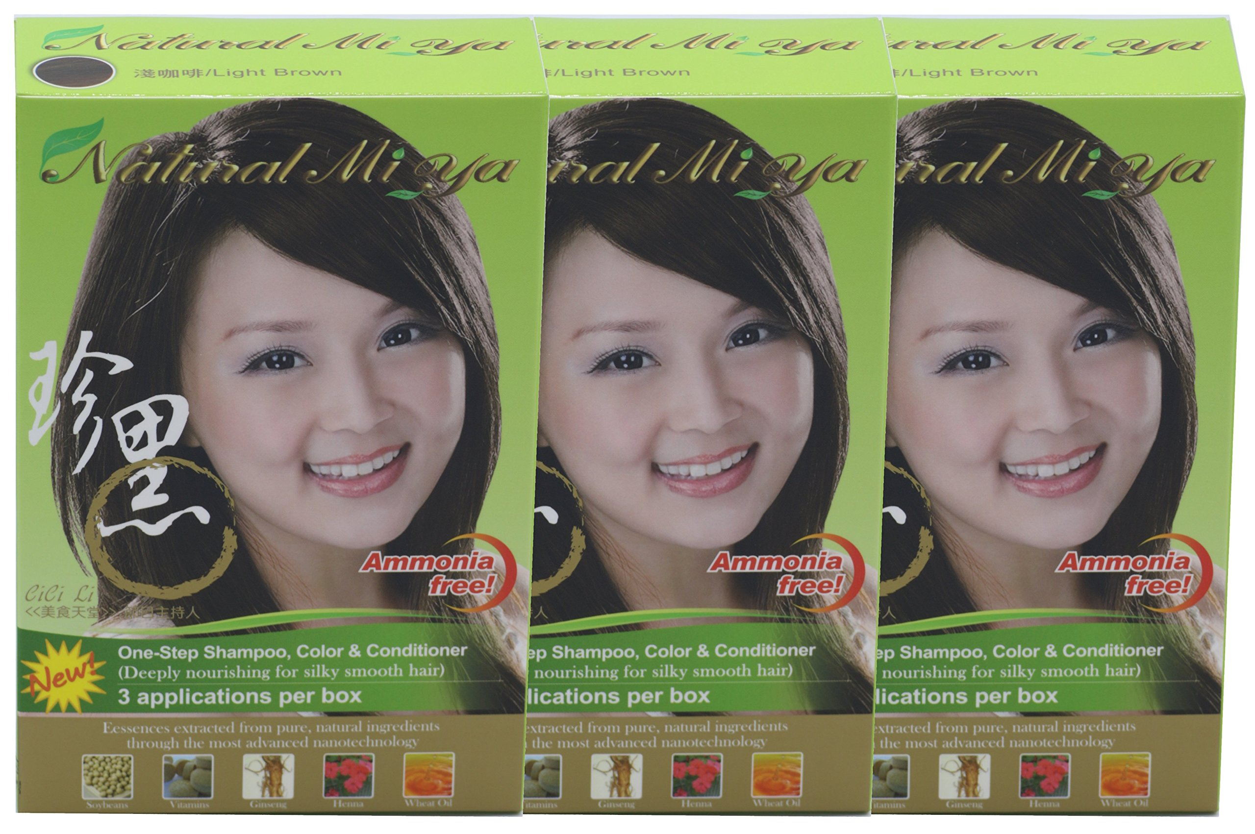 Natural Mi Ya Hair Color, Herbal Hair Dye & Hair Nutritions by Extracted Ginseng,Henna Hair Color Colorants, Permanent, Light Brown (3 Pack) by Natural Mi Ya