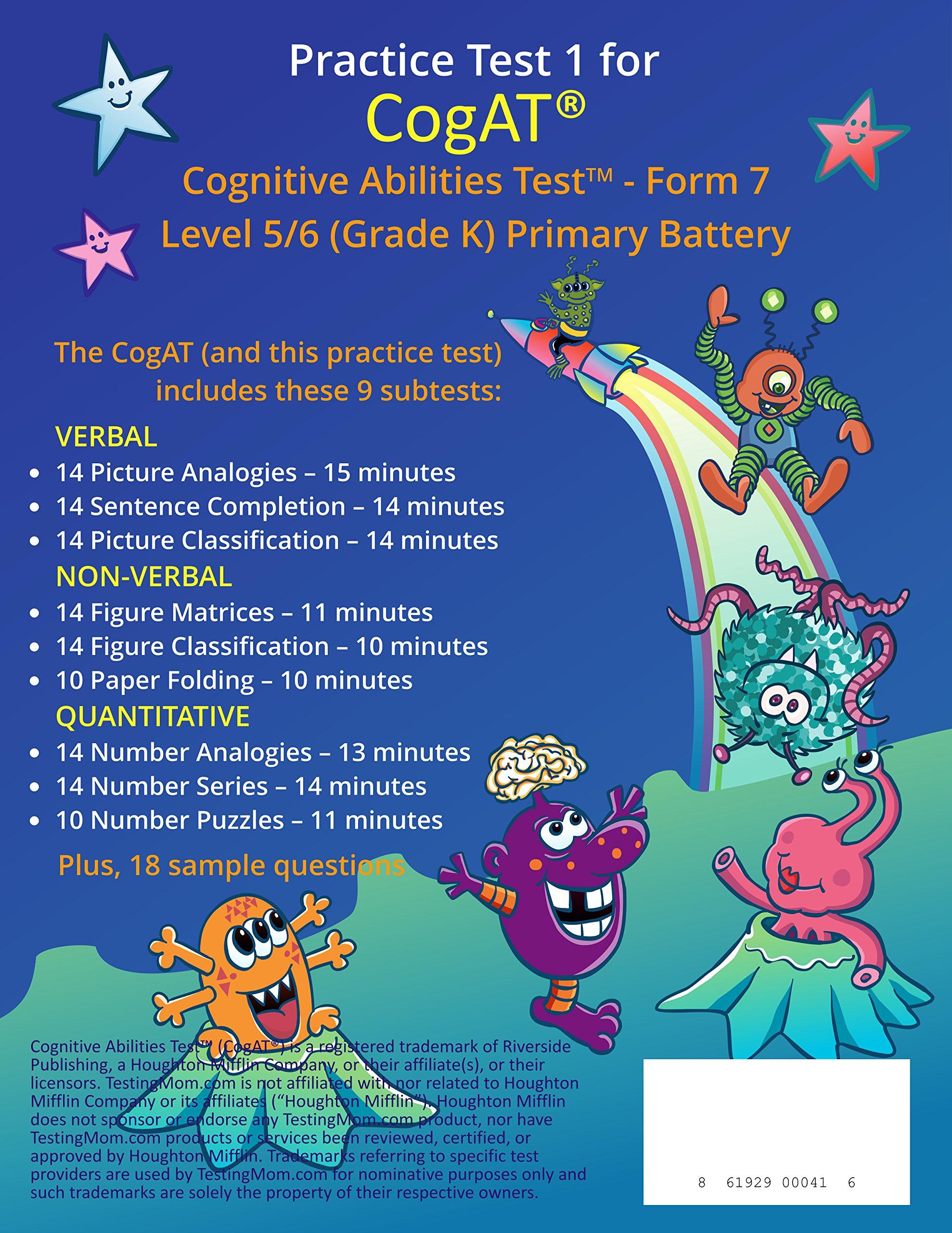 Amazon cogat test prep workbook kindergarten level 56 amazon cogat test prep workbook kindergarten level 56 full length practice test 9780999158302 testingmom books fandeluxe Gallery