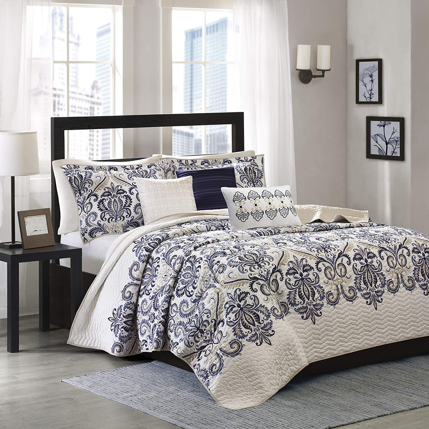 Madison Park Cali 6 Piece Reversible Coverlet Set Blue King/Cal King