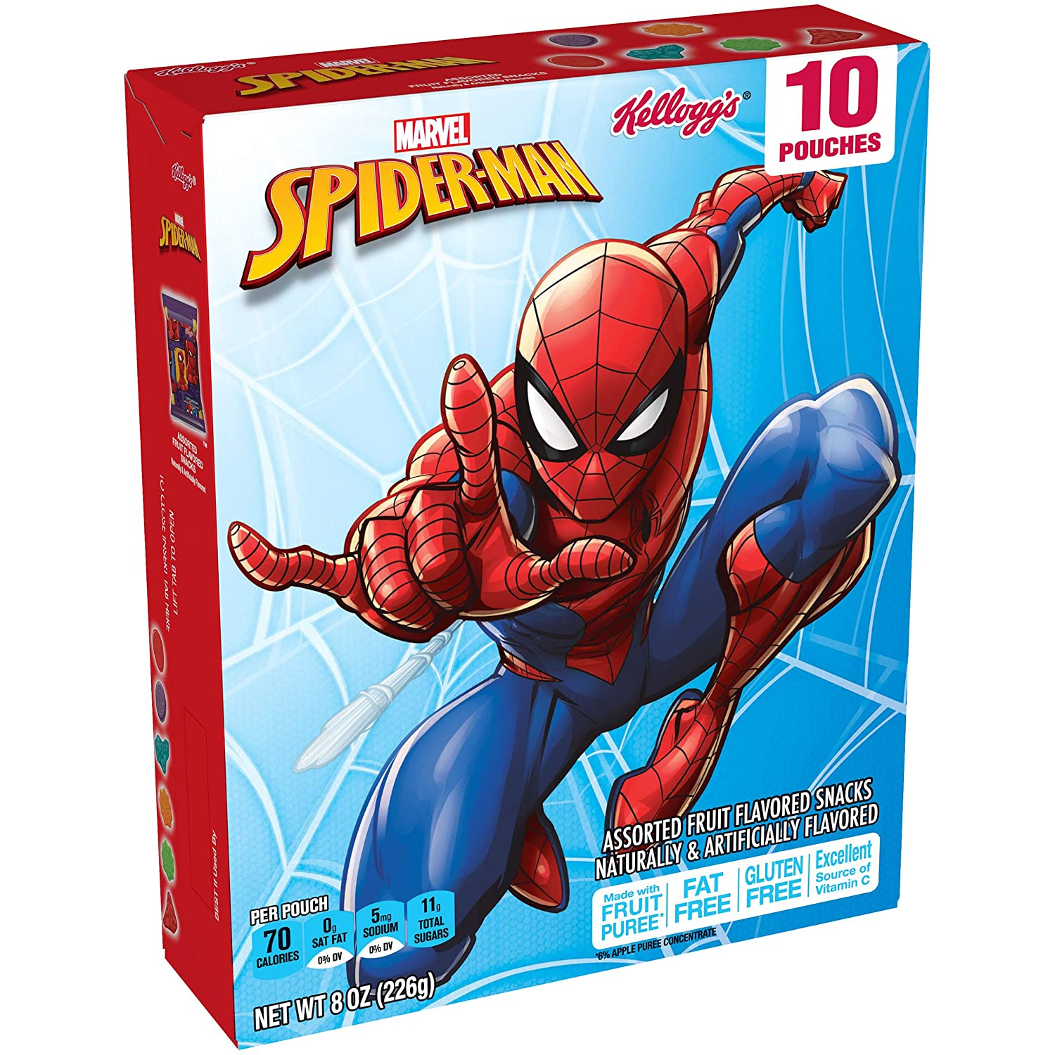 Spiderman, Assorted Fruit Flavored Snacks, Gluten Free, Fat Free, 8 Ounce, 10 Count