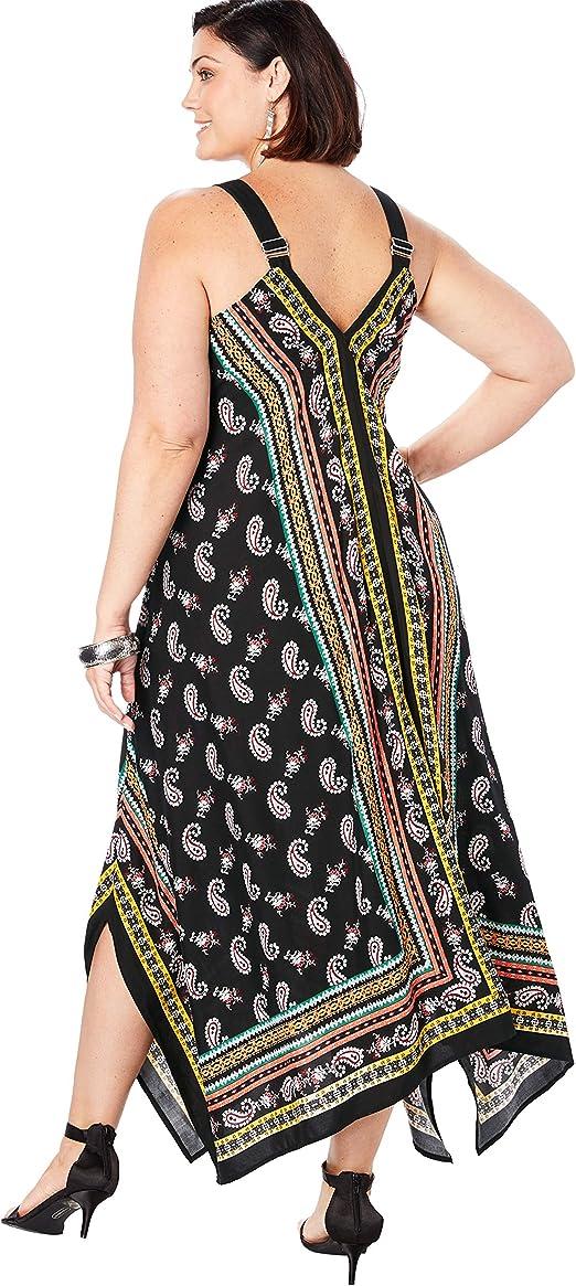 Women's Plus Size Scarf-Print Maxi Dress with Handkerchief Hem