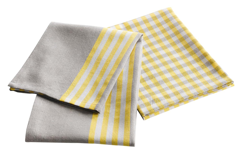 Douceur dInt/érieur Set de 2 Torchons Liberty Yellow Coton Jaune 50 x 70 cm
