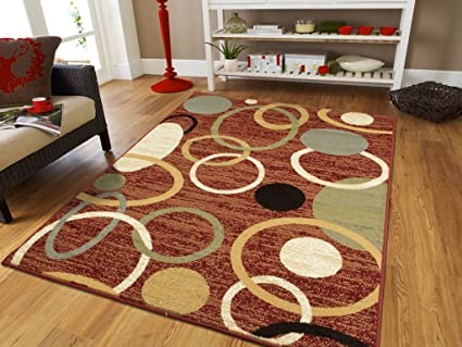 Red Rings Contemporary Rugs For Living Room Large Carpet 8x11 Modern Rugs  For Dining Room Area Rugs 8x10 Clearance Under 100