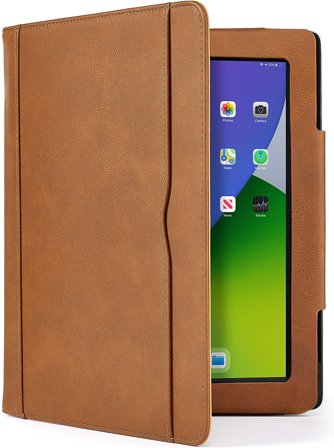 S-Tech iPad Air Case (4th Generation 2020 Model) Soft Leather Wallet Magnetic Smart Cover with Sleep/ Wake Feature Flip Folio Stand with Pencil Holder for Apple A2324 A2316 A2325 A2072 (Brown)