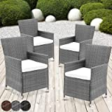 Miadomodo Sedia poltrona polyrattan giardino set di 4 sedie in polyrattan grigio