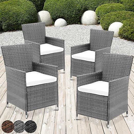 Miadomodo – Juego de 4 sillones de jardín de poliratán Gris Elegir