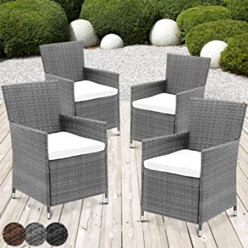 miadomodo garden furniture set of 4 polyrattan chairs seat cushions washable different colours - Garden Furniture Colours