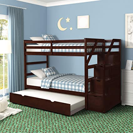 Harper Bright Designs Twin Over Twin Trundle Bunk Bed With 4 Storage Drwers Espresso