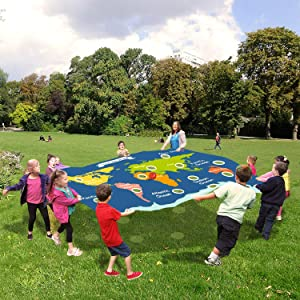 Sonyabecca Hole Tarp Earth Play Parachute Travel The World Team Building Game Exercise Activities with 12 Balls (6 Large Balls and 6 Small Balls)