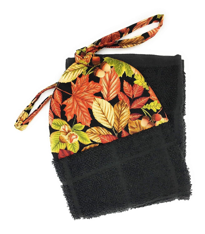 Fall Autumn Maple Harvest Leaves on Black Ties On Stays Put Kitchen Hanging Loop Hand Dish Towel