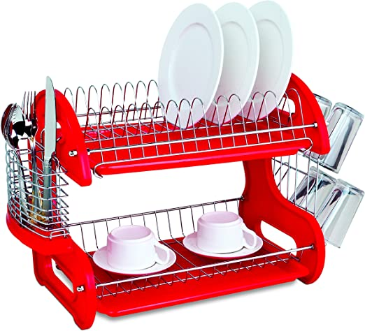 Home Basics Plastic 2 Tier Dish Drainer Rack Air Drying And Organizing Dishes Side Mounted Cutlery Holder Red