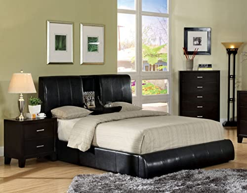 Furniture of America Martie Upholstered Platform King Bed with Flip-Tray, Dark Espresso