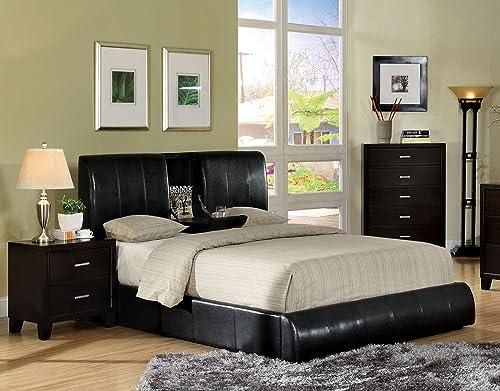 Furniture of America Martie Upholstered Platform King Bed with Flip-Tray, Dark Espresso
